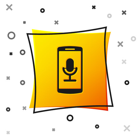 Black Mobile recording icon isolated on white background. Mobile phone with microphone. Voice recorder app smartphone interface. Yellow square button. Vector Illustration