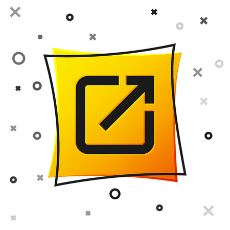 Black Open in new window icon isolated on white background. Open another tab button sign. Browser frame symbol. External link sign. Yellow square button. Vector Illustration