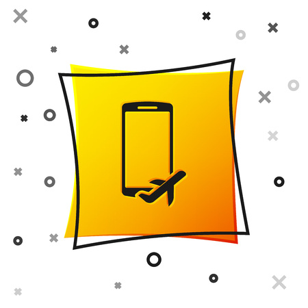 Black Flight mode in the mobile phone icon isolated on white background. Airplane or aeroplane flight offline mode passenger regulation airline . Yellow square button. Vector Illustration