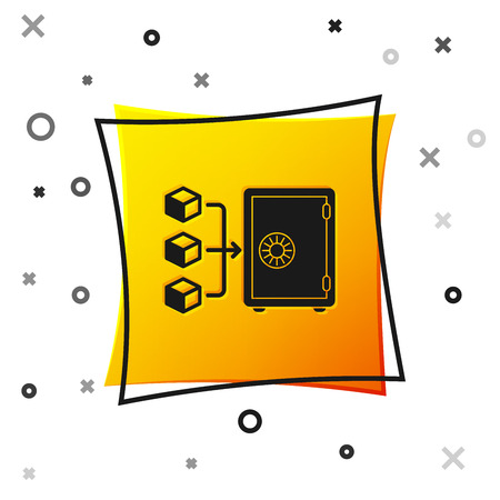 Black Proof of stake icon isolated on white background. Cryptocurrency economy and finance collection. Yellow square button. Vector Illustration Çizim