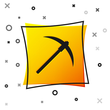 Black Pickaxe icon isolated on white background. Blockchain technology, cryptocurrency mining, bitcoin, digital money market, cryptocoin wallet. Yellow square button. Vector Illustration Ilustrace