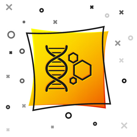 Black Genetic engineering icon isolated on white background. DNA analysis, genetics testing, cloning, paternity testing. Yellow square button. Vector Illustration