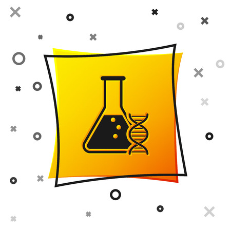 Black DNA research, search icon isolated on white background. Genetic engineering, genetics testing, cloning, paternity testing. Yellow square button. Vector Illustration