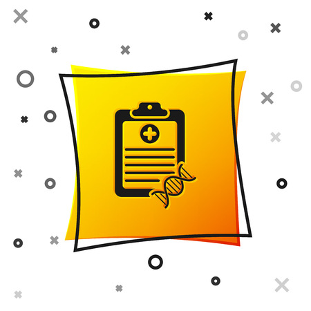 Black Clipboard with DNA analysis icon isolated on white background. Genetic engineering, genetics testing, cloning, paternity testing. Yellow square button. Vector Illustration