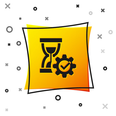 Black Hourglass and gear icon isolated on white background. Time Management symbol. Clock and gear icon. Productivity symbol. Yellow square button. Vector Illustration