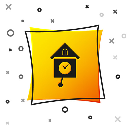 Black Retro wall watch icon isolated on white background. Cuckoo clock sign. Antique pendulum clock. Yellow square button. Vector Illustration Ilustracja
