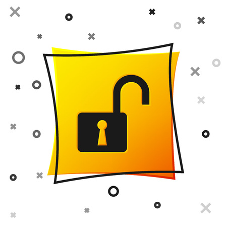 Black Open padlock icon isolated on white background. Opened lock sign. Cyber security concept. Digital data protection. Safety safety. Yellow square button. Vector Illustration Ilustrace