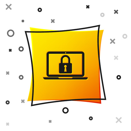 Black Laptop and lock icon isolated on white background. Computer and padlock. Security, safety, protection concept. Safe internetwork. Yellow square button. Vector Illustration Stockfoto - 123136771