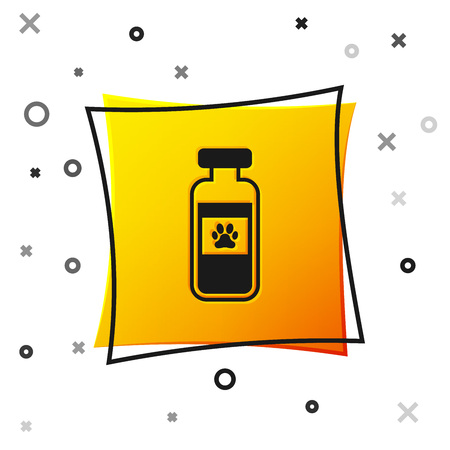 Black Pets vial medical icon isolated on white background. Prescription medicine for animal. Yellow square button. Vector Illustration Vettoriali