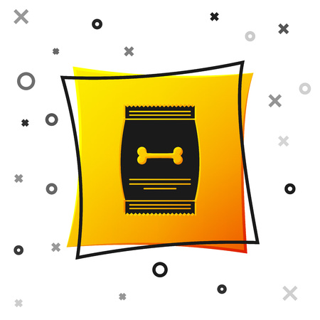 Black Bag of food for pet icon isolated on white background. Food for animals. Dog bone sign. Pet food package. Yellow square button. Vector Illustration