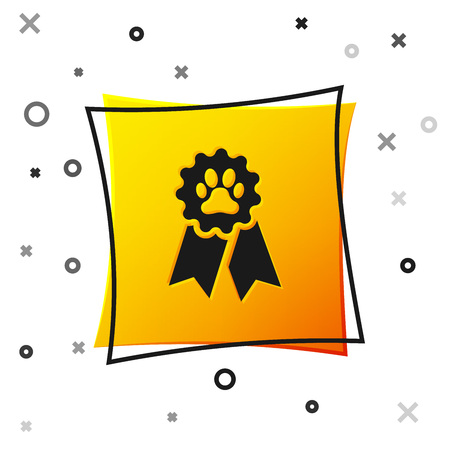 Black Pet award symbol icon isolated on white background. Badge with dog or cat paw print and ribbons. Medal for animal. Yellow square button. Vector Illustration Vector Illustratie