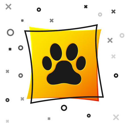 Black Paw print icon isolated on white background. Dog or cat paw print. Animal track. Yellow square button. Vector Illustration Stockfoto - 123136816