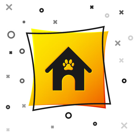 Black Dog house and paw print pet icon isolated on white background. Dog kennel. Yellow square button. Vector Illustration Ilustração
