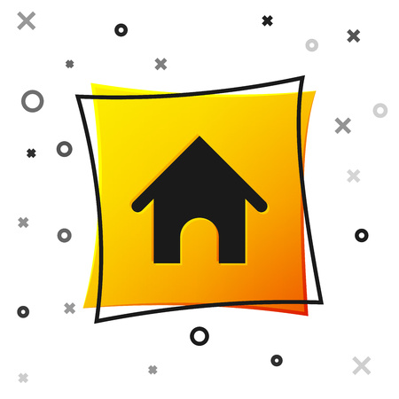 Black Dog house icon isolated on white background. Dog kennel. Yellow square button. Vector Illustration