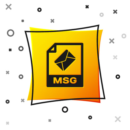 Black MSG file document icon. Download msg button icon isolated on white background. MSG file symbol. Yellow square button. Vector Illustration