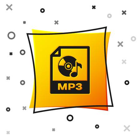 Black MP3 file document icon. Download mp3 button icon isolated on white background. Mp3 music format sign. MP3 file symbol. Yellow square button. Vector Illustration Vettoriali