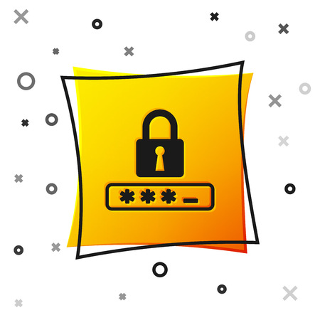 Black Password protection and safety access icon isolated on white background. Lock icon. Security, safety, protection, privacy concept. Yellow square button. Vector Illustration