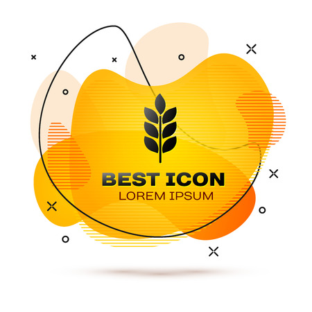 Black Cereals icon set with rice, wheat, corn, oats, rye, barley icon isolated on white background. Ears of wheat bread symbols. Agriculture wheat symbol. Fluid color banner. Vector Illustration  イラスト・ベクター素材