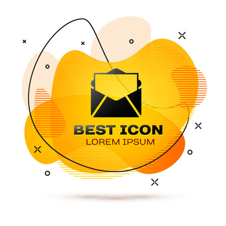 Black Mail and e-mail icon isolated on white background. Envelope symbol e-mail. Email message sign. Fluid color banner. Vector Illustration Illustration