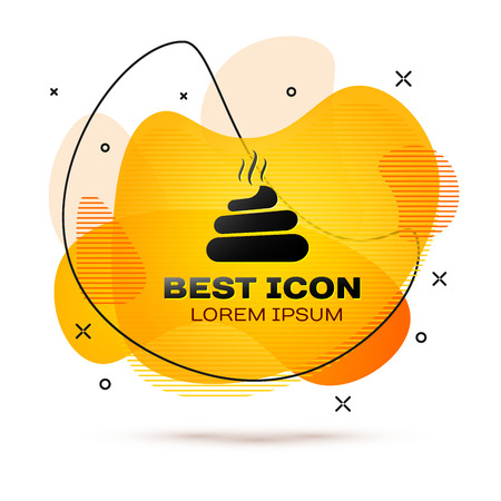 Black Shit icon isolated on white background. Fluid color banner. Vector Illustration