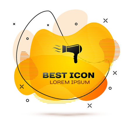 Black Hair dryer icon isolated on white background. Hairdryer sign. Hair drying symbol. Blowing hot air. Fluid color banner. Vector Illustration Stockfoto - 123089581