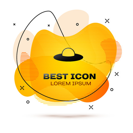 Black UFO flying spaceship icon isolated on white background. Flying saucer. Alien space ship. Futuristic unknown flying object. Fluid color banner. Vector Illustration