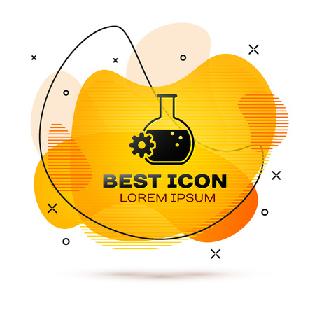 Black Bioengineering icon isolated on white background. Element of genetics and bioengineering icon. Biology, molecule, chemical icon. Fluid color banner. Vector Illustration Vectores