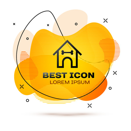 Black Dog house and bone icon isolated on white background. Dog kennel. Fluid color banner. Vector Illustration Vettoriali
