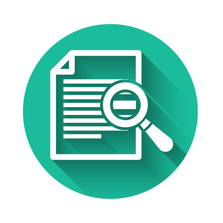 White Document with search icon isolated with long shadow. File and magnifying glass icon. Analytics research sign. Green circle button. Vector Illustration
