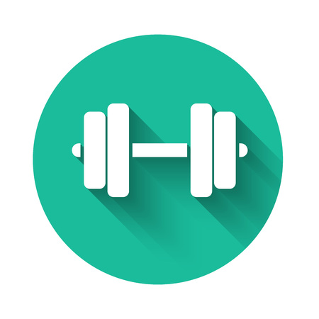 White Dumbbell icon isolated with long shadow. Muscle lifting icon, fitness barbell, gym icon, sports equipment symbol, exercise bumbbell. Green circle button. Vector Illustration