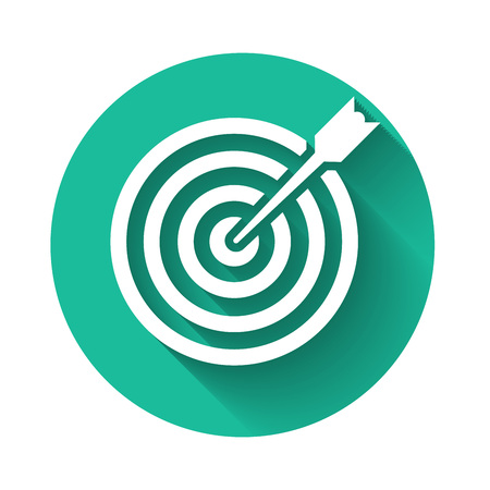 White Target with arrow icon isolated with long shadow. Dart board sign. Archery board icon. Dartboard sign. Business goal concept. Green circle button. Vector Illustration