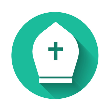 White Pope hat icon isolated with long shadow. Christian hat sign. Green circle button. Vector Illustration