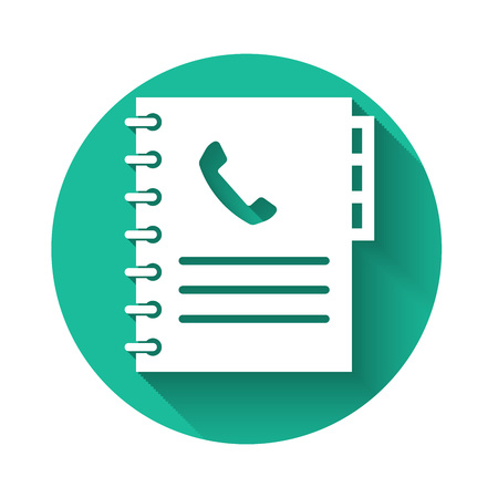 White Phone book icon isolated with long shadow. Address book. Telephone directory. Green circle button. Vector Illustration Illustration