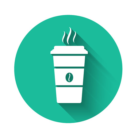 White Coffee cup icon isolated with long shadow. Disposable coffee cup with hot coffee. Green circle button. Vector Illustration Фото со стока - 122945615