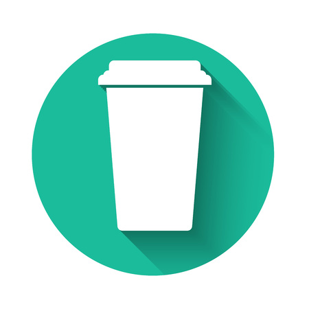 White Coffee cup icon isolated with long shadow. Disposable coffee cup with hot coffee. Green circle button. Vector Illustration