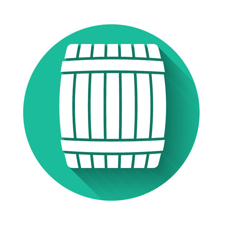 White Wooden barrel icon isolated with long shadow. Green circle button. Vector Illustration