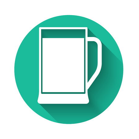 White Glass of beer icon isolated with long shadow. Green circle button. Vector Illustration