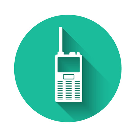White Walkie talkie icon isolated with long shadow. Portable radio transmitter icon. Radio transceiver sign. Green circle button. Vector Illustration