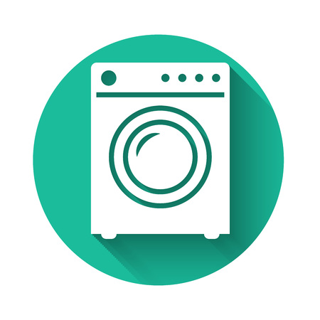 White Washer icon isolated with long shadow. Washing machine icon. Clothes washer - laundry machine. Home appliance symbol. Green circle button. Vector Illustration
