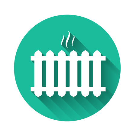 White Heating radiator icon isolated with long shadow. Green circle button. Vector Illustration