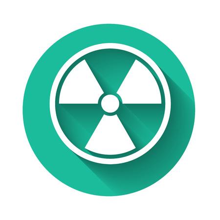 White Radioactive icon isolated with long shadow. Radioactive toxic symbol. Radiation Hazard sign. Green circle button. Vector Illustration Imagens - 122945695