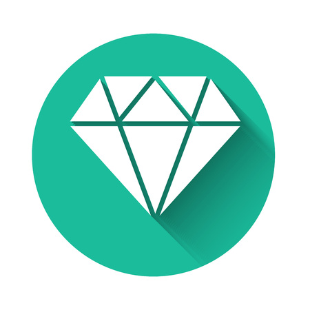 White Diamond icon isolated with long shadow. Jewelry symbol. Gem stone. Green circle button. Vector Illustration Ilustrace