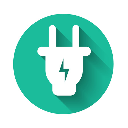White Electric plug icon isolated with long shadow. Concept of connection and disconnection of the electricity. Green circle button. Vector Illustration