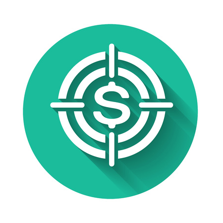 White Target with dollar symbol icon isolated with long shadow. Investment target icon. Successful business concept. Cash or Money sign. Green circle button. Vector Illustration