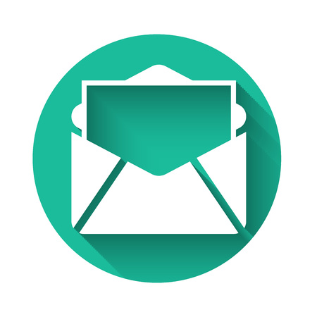 White Mail and e-mail icon isolated with long shadow. Envelope symbol e-mail. Email message sign. Green circle button. Vector Illustration