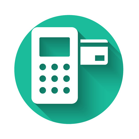 White Pos terminal with inserted credit card icon isolated with long shadow. Payment terminal transaction. Green circle button. Vector Illustration