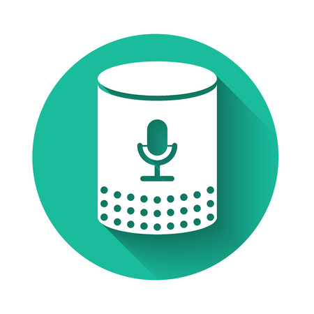 White Voice assistant icon isolated with long shadow. Voice control user interface smart speaker. Green circle button. Vector Illustration