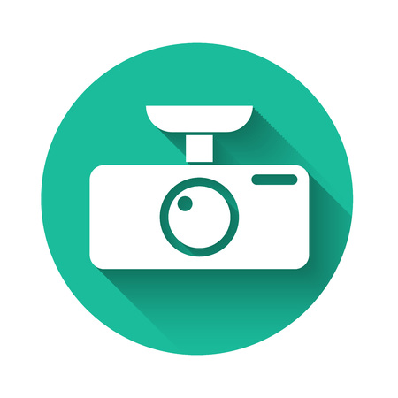 White Car DVR icon isolated with long shadow. Car digital video recorder icon. Green circle button. Vector Illustration