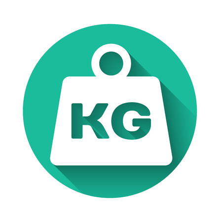 White Weight icon isolated with long shadow. Kilogram weight block for weight lifting and scale. Mass symbol. Green circle button. Vector Illustration