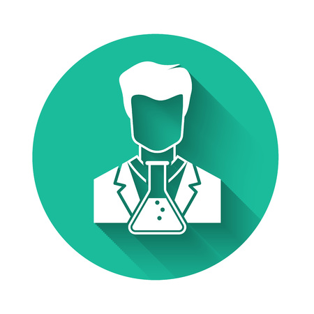 White Scientist and test tube icon isolated with long shadow. Scientist chemist analyzes laboratory flask. Green circle button. Vector Illustration